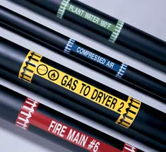pipes with adhesive markers