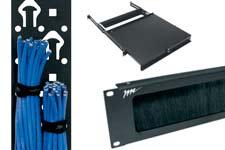 rack cable management, brush grommet, shelves