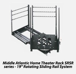 "Middle atlantic home theater rack srsr series - 19"" rotating sliding rail system"