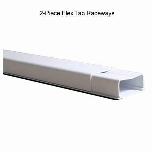 side view of 2 piece flex tab surface raceway icon