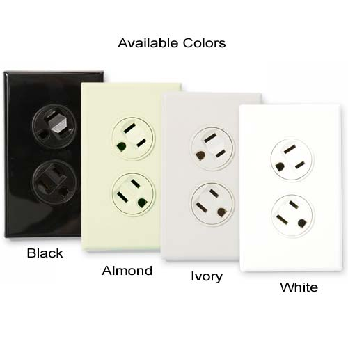360 Electrical rotating outlet available in black, almond, ivory and white icon