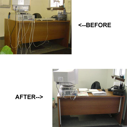 before and after ez hidewire raceway on a spool on a desk - icon