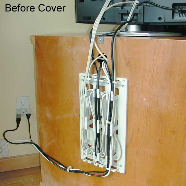 Messy behind TV stand cables without WireMate Cord Organizer - icon