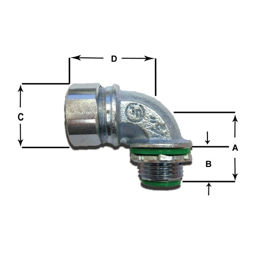 Metal 90 degree Anamet Anaconda fitting with dimensions