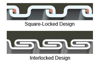 square-locked versus interlocked design