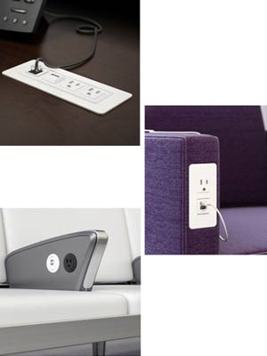 Examples of flush mounted built-in desk outlets