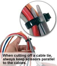 cutting a cable tie