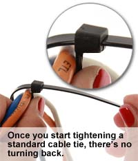 tightening a cable tie