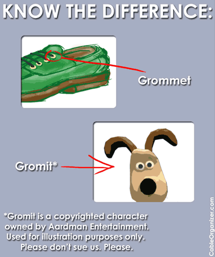 Grommet vs. Gromit (know the difference!)