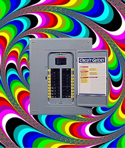 circuit breaker panel with trippy background