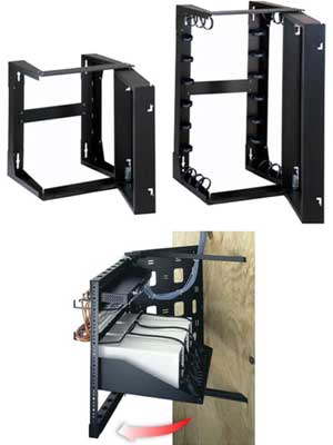 Examples of Swing Out Style Open Frame Wall Mount Racks