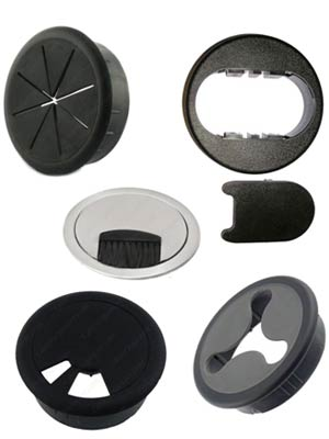 Examples of different opening styles for desk grommets