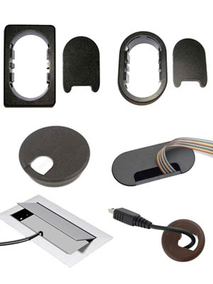 Examples of different desk grommet shapes
