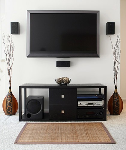 home theater with hidden speaker wires