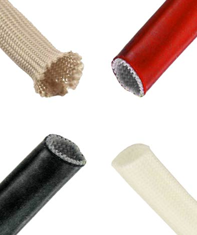 Fiberglass braided sleeving including acrylic and silicone coated examples