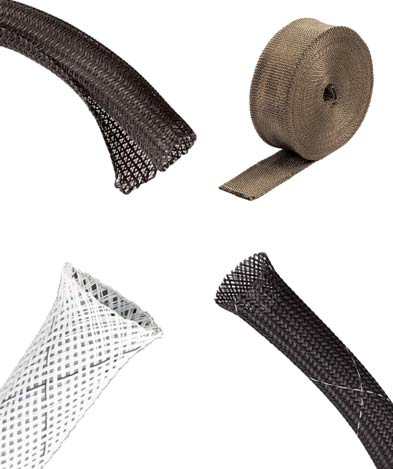 Heat and flame resistant sleeving including PET and volcanic rock examples
