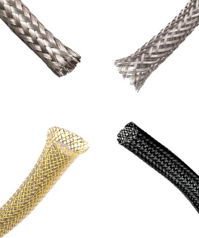 Examples of metallic and EMI shielded braided sleeving