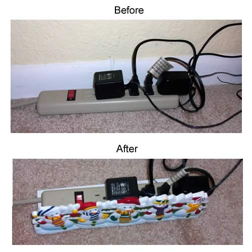 before and after use of snowmen decorative power strip cover - icon