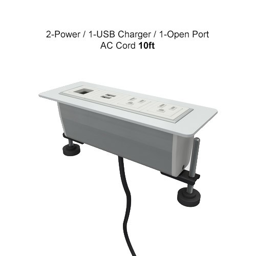 AXIL Z 2-Power/1-USB Charger/1-Open Ports, AC Cord 10ft Gloss White