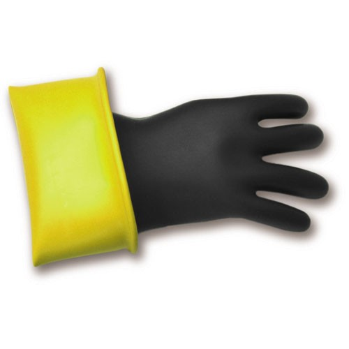 bashlin ppe personal protection equipment lineworker rubber gloves in black with yellow layer icon