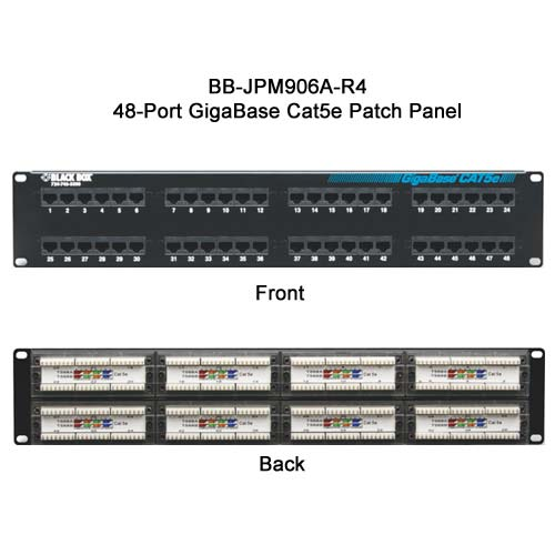 Black Box GigaBase 48 port Cat5E patch panel, front and rear view - Icon
