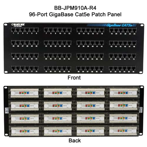 Black Box GigaBase 96 port Cat5E patch panel, front and rear view - Icon
