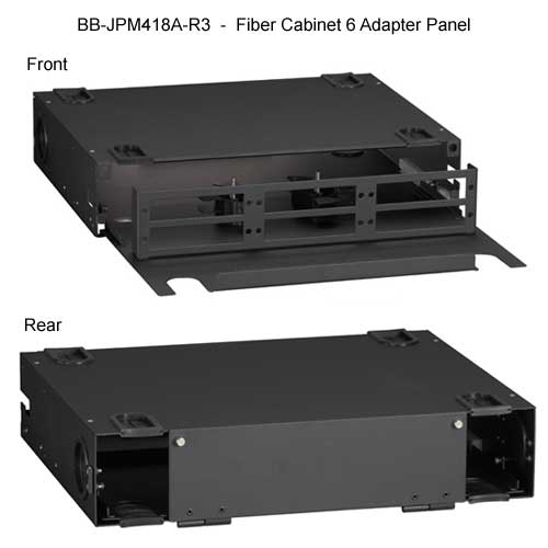 Black Box Rackmount 6 adapter fiber, empty, front and rear views - Icon