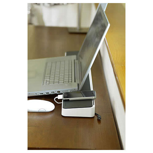BlueLounge SpaceStation Desk organizer and Laptop docking station in use - Icon