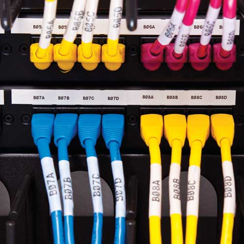Patch panel and patch cords labeled using Brady BMP 21 Labels - Icon