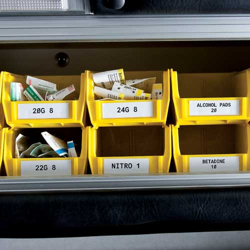 Bins labeled using Brady BMP 21 Labels - Icon