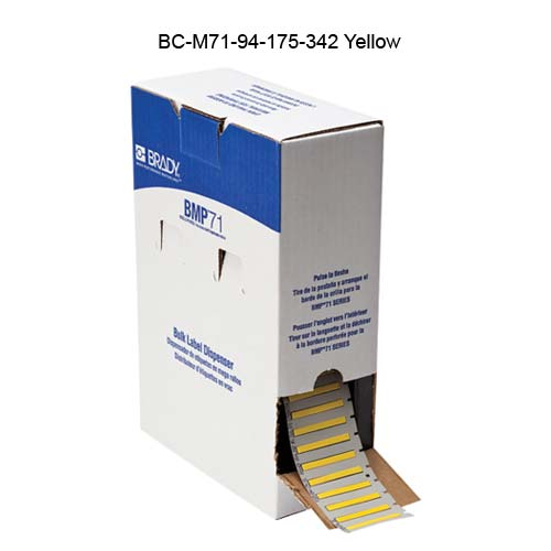Brady BMP71 PermaSleeve Heat Shrinkable Labels, Yellow, in dispenser box - Icon