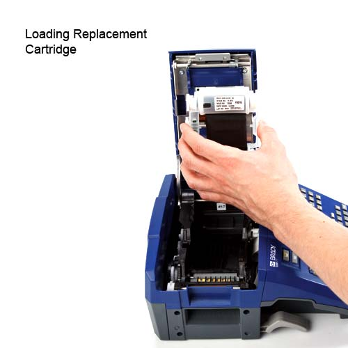 Loading replacement cartridge in Brady BMP 71 Thermal Transfer Label printer - Icon