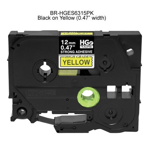 Brother HGe Laminated Tape Cartridge Black on Yellow