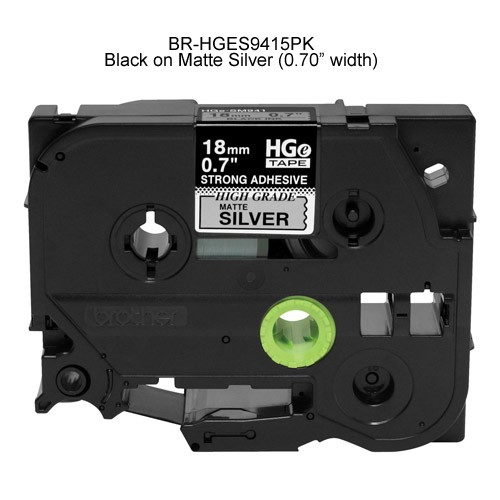 Brother HGe Laminated Tape Cartridge Black on Matte Silver