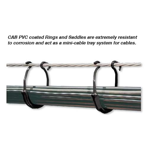 CAB PVC Coated Cable rings and saddles in use
