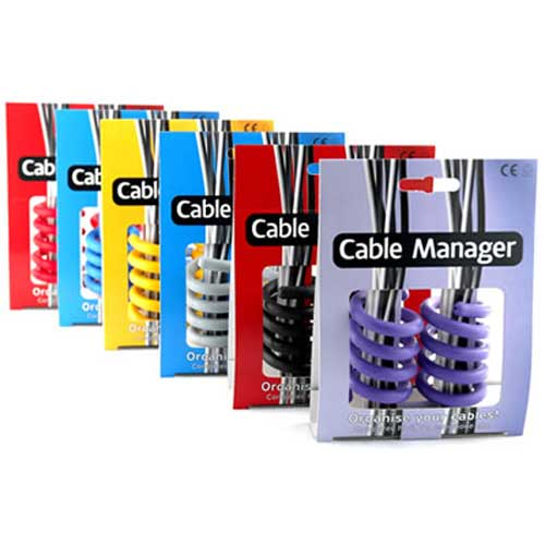 cable managers in purple, black, gray, yellow, blue and red - icon