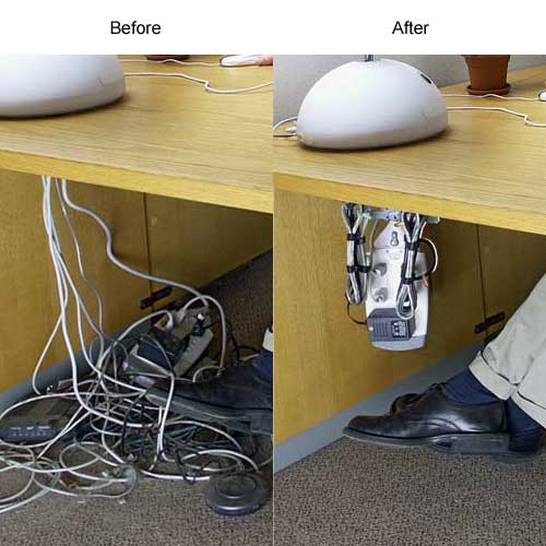 Before and after use of Cable Safe Complete Cable Manager under a desk - icon