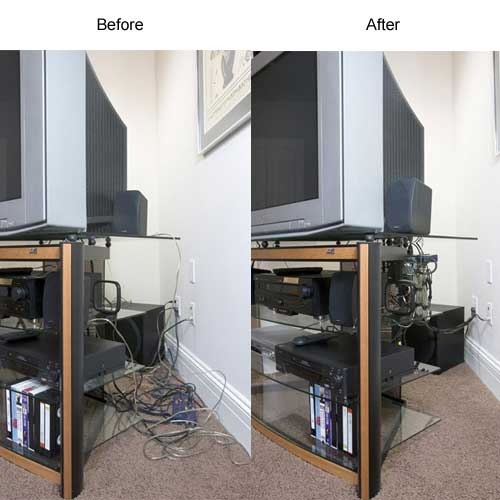 Before and after use of Cable Safe Complete Cable Manager behind a television - icon