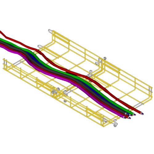 drawing of CM20 cable tray straight section in use in yellow - icon