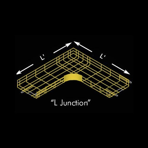 Drawing of CM25 cable tray L Junction in yellow - icon