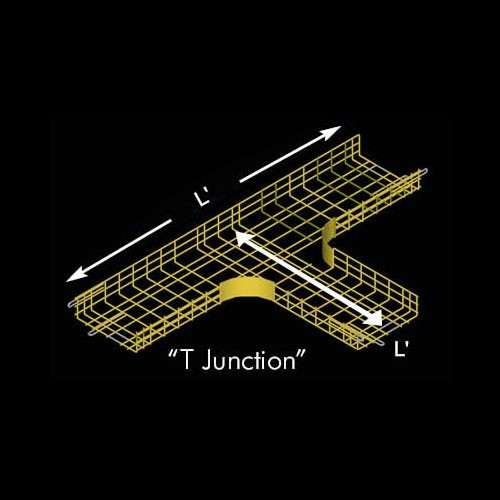 Drawing of CM25 cable tray T Junction in yellow - icon