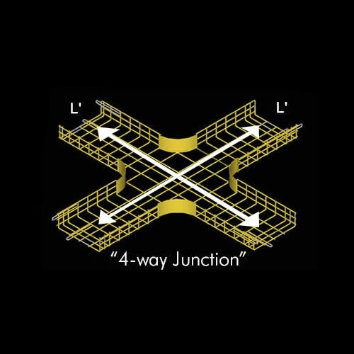 Drawing of CM25 cable tray 4 Way Junction in yellow - icon