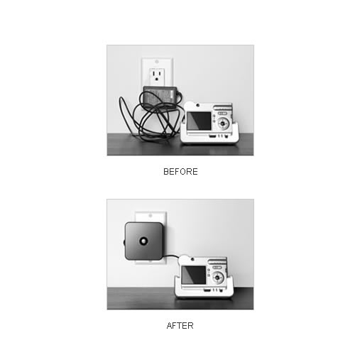 before and after use of black cable yoyo cable organizer on digital camera