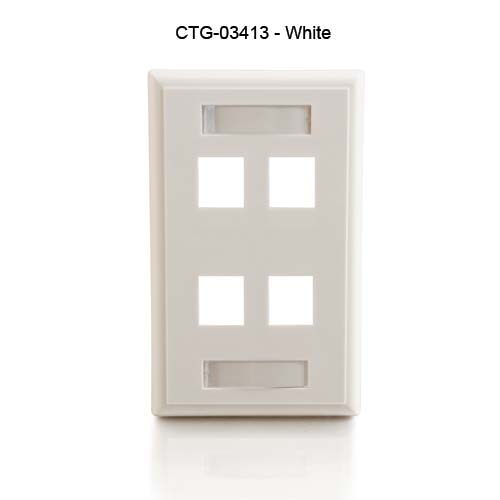 Cables to Go 4 port single gang keystone wall plate in white, front view - icon