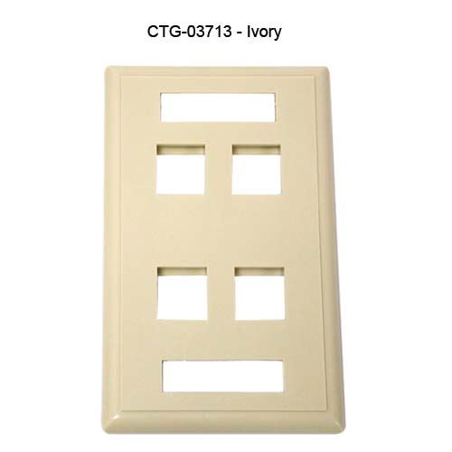 Cables to Go 4 port single gang keystone wall plate in ivory, front view - icon
