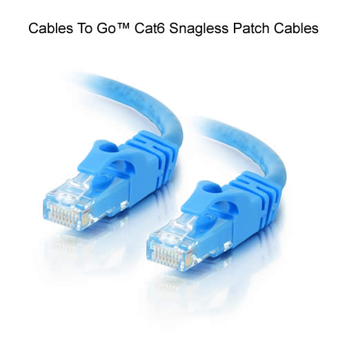 close up of cables to go cat6 snagless patch cables in blue - icon