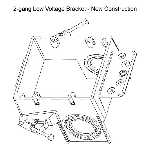 drawing of carlon resi-gard 2 gang low voltage mounting bracket for new construction - icon