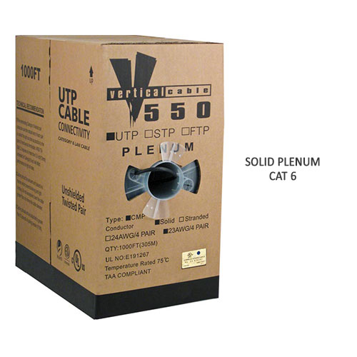 box solid plenum cat6 cable