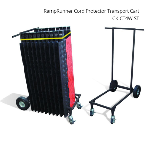 checkers industrial ramprunner cord protector transport cart model ck-ct2w in use and empty icon