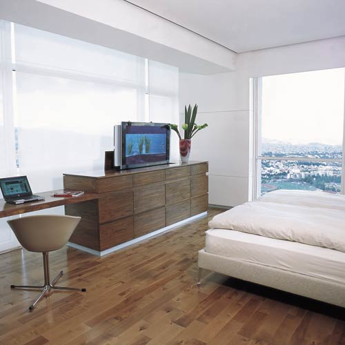 chief automated pop up lift flat panel display in use in home icon